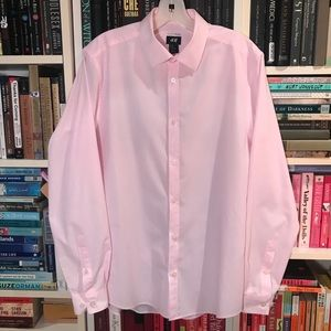 H&M Easy Iron Light Pink Button Down Shirt Top